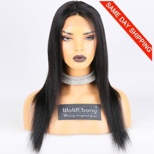 Same Day Shipping Clearance Sale 16 inches Lace Front Wigs Peruvian Virgin Hair #1B Color 180% Density Medium cap size Natural Straight [TH04]