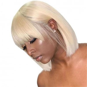 WowEbony Blonde Hair Indian Remy Hair Silk Straight Full Bangs Bob Cut Lace Top Circle Wigs[Jade]