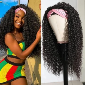 Ship in 3 Days WoWEbony Indian Remy Hair Textured Curly Head Band Wigs with Free Headband [HBW02]