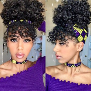 WoWEbony Indian Remy Hair Textured Curly Headband Wigs With Free Bangs and Free Head Band[HBW03]