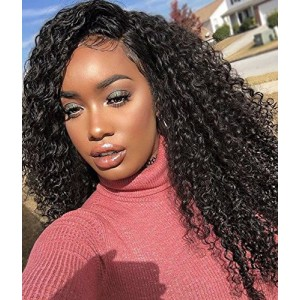 6 Inches Dee Part Pre-Plucked Kinky Curly 360 Lace Wigs 150% density, 100% Indian Remy Hair 360 Wig