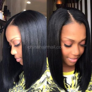 Glueless Full Lace Wigs Indian Remy Hair Bob Straight Middle Part
