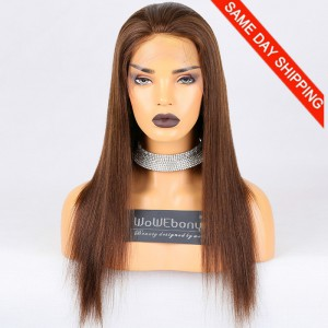 Same Day Shipping Clearance Sale 18 inches Full Lace Wigs Chinese Virgin Hair #4 Color 130% Density Small cap size Light Yaki