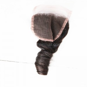 Peruvian Virgin Human Hair Popular 4*4 Lace Closure Romance Curly Natural Hair Line and Baby Hair [PVRCTC]
