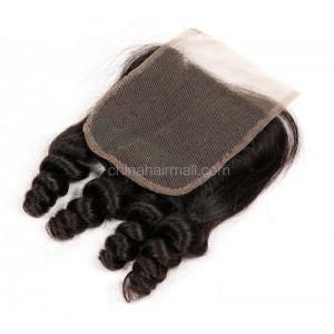 Peruvian Virgin Human Hair Popular 4*4 Lace Closure Spiral Curl Natural Hair Line and Baby Hair [PVSCTC]