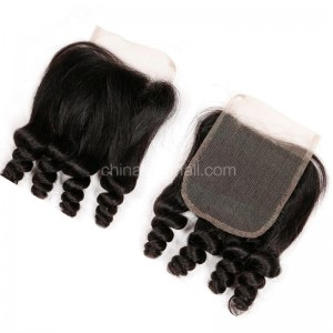 Brazilian Virgin Human Hair 4*4 Popular Lace Closure Spiral Curly Natural Hair Line and Baby Hair [BVSCTC]
