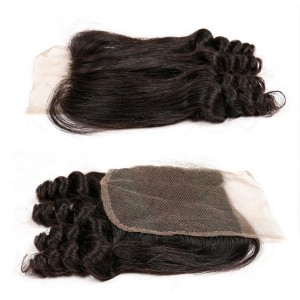 Popular Malaysian Virgin Human Hair 4*4  Lace Closure Spiral Curl Natural Hair Line and Baby Hair [MVSCTC]