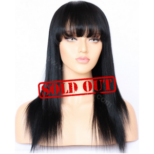 Lace Front Wig, Natural Color, Indian Remy Human Hair, 16 inches,150% Density, Medium Size, Yaki Straight With Bang [CLFW074-1]