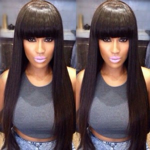 Glueless Full Lace Wigs Indian Remy Hair Yaki Straight Full Bangs