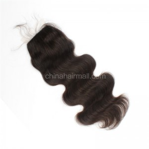 Brazilian Virgin Human Hair 4*4 Popular Silk Base Lace Closure Body Wave Natural Hair Line and Baby Hair [BVBWSTC]