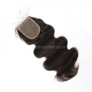 Peruvian Virgin Human Hair Popular 4*4 Silk Base Lace Closure Body Wave Natural Hair Line and Baby Hair [PVBWSTC]