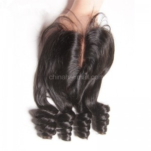 Peruvian Virgin Human Hair 4*4 Popular Lace Closure Bouncy Curly Natural Hair Line and Baby Hair [PVBCTC]