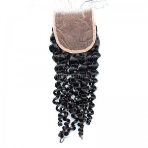 Malaysian Virgin Human Hair 4*4 Popular Lace Closure Brazilian Curly Natural Hair Line and Baby Hair [MVBRCTC]