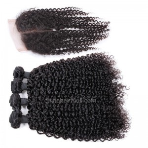 Brazilian virgin unprocessed human hair wefts and 4*4 Lace Closure Brazilian Curly 4+1 pieces a lot Hair Bundles 95g/pc [BVBRC4+1]