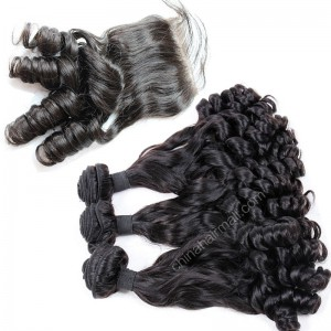 Brazilian virgin unprocessed human hair wefts and 4*4 Lace Closure Eurasian Curly 3 +1 pieces a lot Hair Bundles 95g/pc [BVEC3+1]