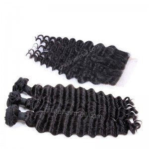 Brazilian virgin unprocessed human hair wefts and 4*4 Lace Closure Milan Curly 3 +1 pieces a lot Hair Bundles 95g/pc [BVMC3+1]