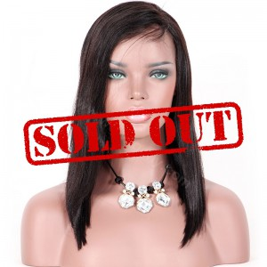 Clearance Sale 14 Inches Glueless Lace Front Wig Indian Remy Hair #1B Color 150% Density Medium Cap Size