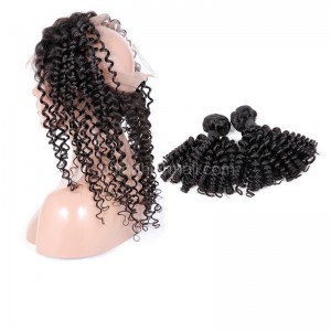 Peruvian Virgin Human Hair 360 Lace Frontal 22.5*4*2 Inch + 2 Bundles Candy Curl