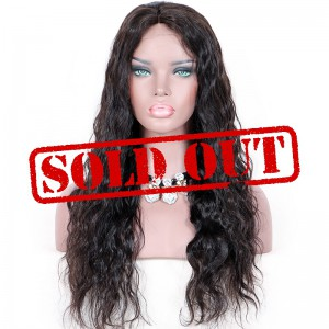 Clearance Sale 22 Inches Glueless Lace Front Wig Indian Remy Hair Natural Color 150% Density Medium Cap Size Loose Wave