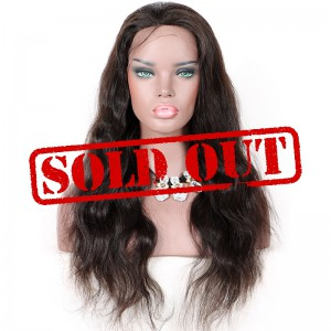 Clearance Lace Front Wig, Natural Color, Brazilian Virgin Human Hair, 22 inches,130% Density, Medium Size, Natural Wave