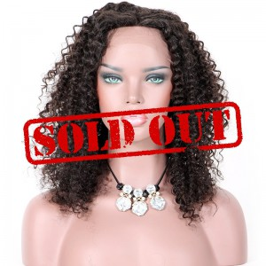 Clearance Lace Front Wig, Natural Color, Malaysian Virgin Human Hair, 16 inches,150% Density, Medium Size, Curly Style