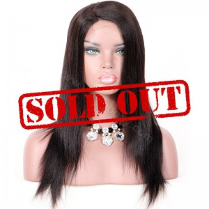 Clearance Sale 16 Inches Silk Top Lace Front Wig Indian Remy Hair Color #1B 130% Density Medium Cap Size[CLFW54]