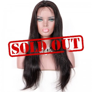 Clearance Sale 20 Inches Lace Front Wig Peruvian Virgin Hair Color #1B 150% Density Medium Cap Size [CLFW57]