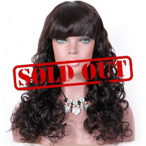 Clearance Sale 20 Inches Silk Top Non-Lace Wigs Indian Remy Hair Natural Color 180% wig Density