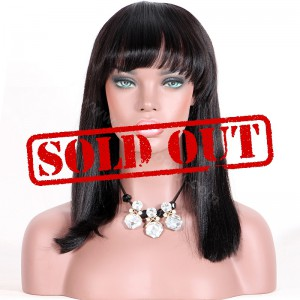 Clearance Sale 14 Inches Silk Top Non-Lace Wig Indian Remy Hair #1B Color 150% Density Medium Cap Size Yaki Straight [CSTNLW02]
