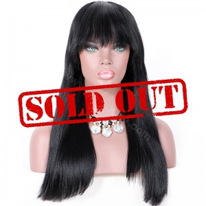 Clearance Sale 20 Inches Silk Top Non-Lace Wig Indian Remy Hair Color #1 150% Density Medium Cap Size [CSTNLW04]