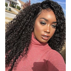 Stocked WowEbony Human Hair 150% Density 3B - 3C Jerry Curly Curve T Part Glueless Lace Wigs [Curve11]