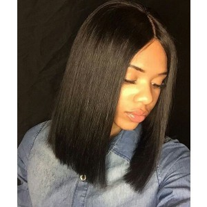 150% density Brazilian Virgin Hair Pre-Plucked 360 Lace Wigs Yaki Straight Bob Wig Blunt Cut Bob