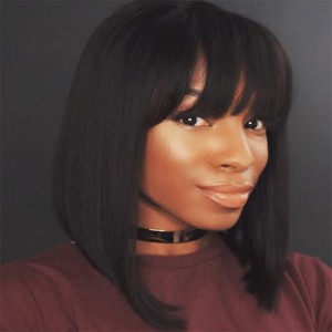 Glueless Full Lace Wigs Indian Remy Hair Bob Straight Wigs With Bangs