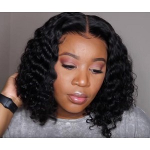 WowEbony Natural Color 150% Density Indian Remy Hair Lace Front Wigs [DLFWBOB04]