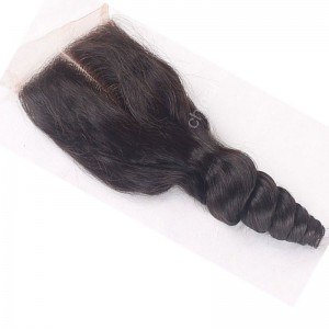Popular Malaysian Virgin Human Hair 4*4  Lace Closure Eurasian Curly Natural Hair Line and Baby Hair [MVECTC]