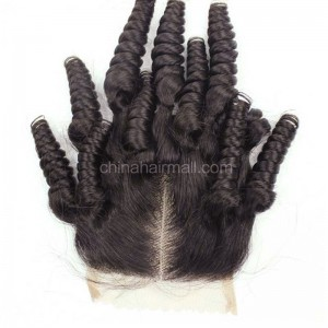 Popular Malaysian Virgin Human Hair 4*4  Lace Closure Funmi Curly Natural Hair Line and Baby Hair [MVFCTC]
