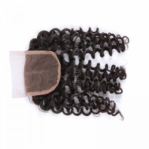 Malaysian Virgin Human Hair 4*4 Popular Lace Closure Loose Curly Natural Hair Line and Baby Hair [MVLCTC]
