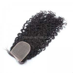 Malaysian Virgin Human Hair 4*4 Popular Silk Base Lace Closure Curly Natural Hair Line and Baby Hair [MVCSTC]