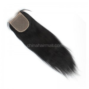 Malaysian Virgin Human Hair 4*4 Popular Silk Base Lace Closure Yaki Straight Natural Hair Line and Baby Hair [MVYKSTC]