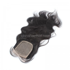 Peruvian Virgin Human Hair 4*4 Popular Silk Base Lace Closure Natural Wave Natural Hair Line and Baby Hair [PVNWSTC]