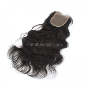 Malaysian Virgin Human Hair 4*4 Popular Silk Base Lace Closure Natural Wave Natural Hair Line and Baby Hair [MVNWSTC]