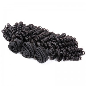 Peruvian virgin unprocessed natural color human hair wefts Bouncy Curly 3 pieces a lot Hair Bundles 95g/pc [PVBC03]