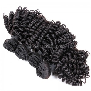 Malaysian virgin unprocessed natural color human hair wefts Bouncy Curly 4 pieces a lot  95g/pc  [MVBC04]
