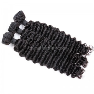 Malaysian virgin unprocessed natural color human hair wefts Deep Wave 3 pieces a lot 95g/pc [MVDW03]