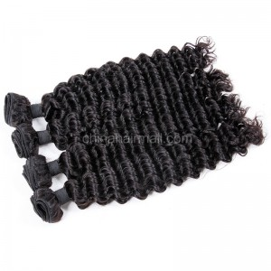 Peruvian virgin unprocessed human hair wefts Natural Color Deep Wave 4 pieces a lot 95g/pc [PVDW04]