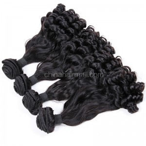 Malaysian virgin unprocessed natural color human hair wefts Eurasian Curly 4 pieces a lot  95g/pc [MVEC04]