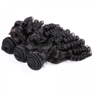 Malaysian virgin unprocessed natural color human hair wefts Funmi Curly 3 pieces a lot 95g/pc [MVFC03]