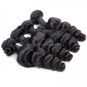 Peruvian virgin unprocessed human hair wefts Natural Color Peruvian Curly 4 pieces a lot 95g/pc [PVPC04]