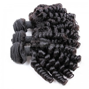 Peruvian virgin unprocessed natural color human hair wefts Spiral Curly 3 pieces a lot Hair Bundles 95g/pc [PVSC03]