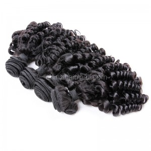 Peruvian virgin unprocessed human hair wefts Natural Color Spiral Curly 4 pieces a lot  95g/pc  [PVSC04]